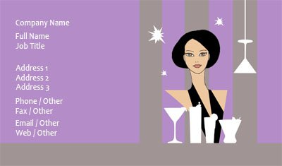 Purple Bartender Business Card Template
